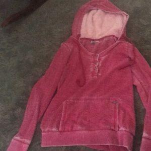 Roxy small red hoodie sweatshirt with fur in hood